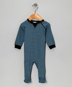 Take a look at this Blue Stripe Little Star Organic Footie by Kushies on #zulily today!