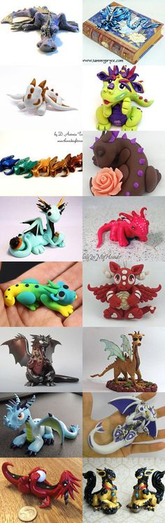 An Entire Collection of Polymer Clay Dragons on Etsy --All Dragons are available for purchase from Etsy