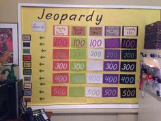 Employee bulletin board... A friendly game of kids Jeopardy! Each round played over two weeks.