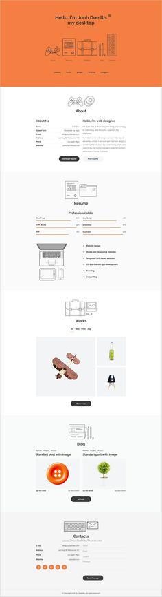 MyDesktop u2013 One Page Personal CV Resume Template Cv resume template - personal resume websites