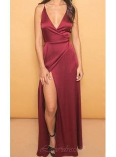 Red Long Prom Dress,Sexy Prom Dress,Deep V Neck Prom Dress,Slit Prom Dress, Spaghettis Prom Dress, Evening Party Gowns S389