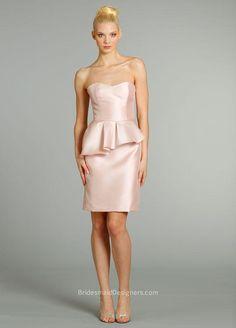 Blush satin strapless knee length bridesmaid dress, natural waist, with peplum and pencil skirt