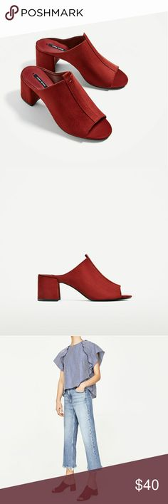 ZARA Red Suede Mules with Block Heel Brand new with tags and dust bag in a US 6. Color is red. Made of vegan leather and goat leather slipsoles. Size reads 36. Zara Shoes Mules & Clogs