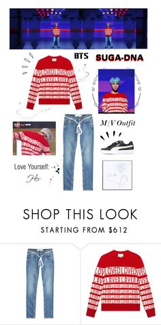"""""""BTS: SUGA """"DNA"""" M/V Outfit"""" by itzbrizo ❤ liked on Polyvore featuring Off-White, Gucci, Puma and Old Navy"""