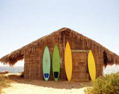 beach house and surfboards