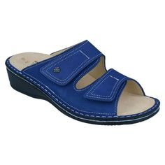 Electrify any outfit in these cobalt blue slide sandals from Finn Comfort. The ultimate comfort and support for your feet. Don't wait, these will sell fast! Girls Sandals, Soft Suede, Ankle Straps, Slide Sandals, Cobalt Blue, Comfortable Shoes, Footwear, Outfit, Spring