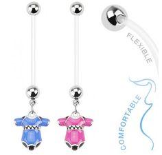 Bio Flex #Pregnancy #Navel Ring with #Baby #blue #Pink Onesie Dangle #bodykraze