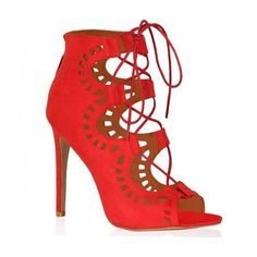 Anais Red Cut Out Lace Up Heel ($39) ❤ liked on Polyvore