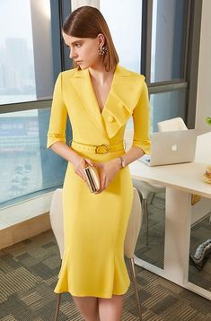 45 Lovely Dress For Work Casual Dresses, Short Dresses, Fashion Dresses, Dresses For Work, Formal Dresses, Yellow Formal Dress, Pinterest Fashion, African Dress, Classy Outfits