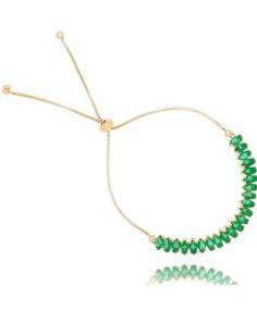 pulseira esmeralda folheada a ouro com zirconia navetes semi joias da moda