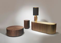 Shadow collection by @Lee Broom Materials: walnut with brushed brass or satin black inlay, walnut or brushed brass top
