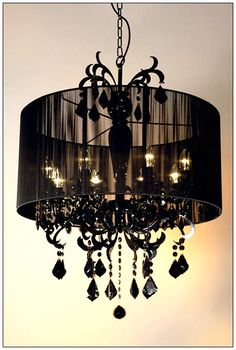 #worldlyrooms Paris Bedroom: Black chandelier