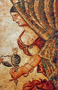 Ancient mosaic of the roman vila of La Olmeda in Pedrosa de la Vega (Palencia, Castile and León). Only known evidence of transparency using tesserae (on woman's veil).