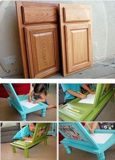 Cupboard Doors Turned into a Child's Arts and Crafts Table