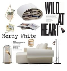 """Nerdy White..."" by lauren-intan ❤ liked on Polyvore featuring interior, interiors, interior design, home, home decor, interior decorating, Dot & Bo and Olfactive Studio"