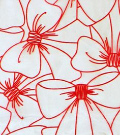 Sew Sweet Collection - Flocked Bow Organza Red On White Fabric