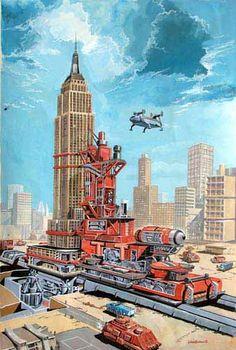 Empire State Building transportation - Cutaway illustration by Graham Bleathman - From Thunderbirds