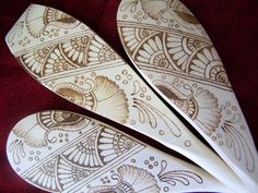 wood burned spoons | Art Deco Daisy Spoon Set - $54.00 - Handmade Home Decor, Crafts and ...