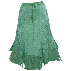Boho Women's Long Skirt Green Embroidered Gypsy Summer Skirts M:... ($38) ❤ liked on Polyvore featuring skirts, long summer skirts, green skirt, summer maxi skirts, floor length skirt and boho skirts