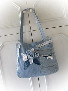 Summer outdors party Denim bag Boho bag Patchwork bag Jean