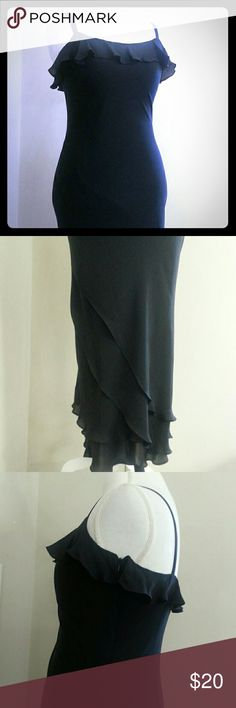 """Ralph Lauren Silk Dress Pretty spaghetti strap silk dress from Lauren Ralph Lauren This feminine piece features a ruffle neckline and ruffled cascading skirt.  52""""length 16.5""""bust 15""""waist 18""""hip Lauren Ralph Lauren Dresses Asymmetrical"""