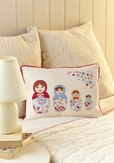Angela Poole's stylish Russian doll cushion is stitched on chunky evenweave for a gorgeous textured finish. Find this project in our May 235 issue! http://www.myfavouritemagazines.co.uk/stitch-craft/cross-stitch-collection-magazine-back-issues/