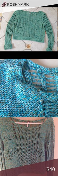 Open-knit Free People sweater Beautiful teal and gold hues. Open knit and cropped. Excellent condition. True to size.  Free People Sweaters
