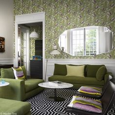 Layers of shades of green in a Pais apartment . with envy rooms Living Room Green, Living Rooms, Shades Of Green, Decoration, Elegant, Envy, Pattern, Layers, Villa
