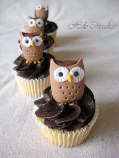 Must...pin...ALL the owls. Lemon cupcake with chocolate icing...interesting combination. But who cares about that -- there's an owl on the cupcake!