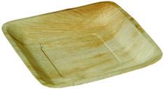 Tallerken laget av Palmeblad. Mål: 24 x 24 cm. Fint til hovedretter, tapas etc. Egner seg til varme og kalde retter. Miljøvennlig og 100% nedbrytbar.