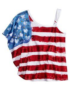 Girls Clothing | Short Sleeve | Americana One Shoulder Top | Shop Justice