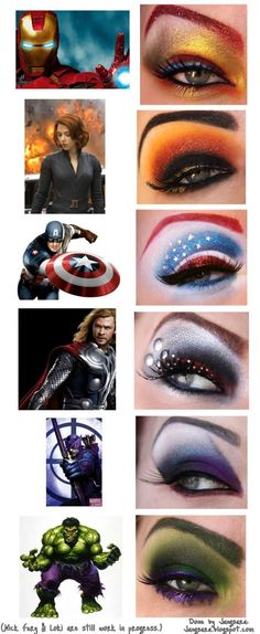 """Avengers"" eye make up.  How cool is that?  It satisfies my love of make up and all things geek."