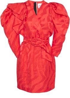 2591bc3a69 Carmen March Puff-Sleeve Linen-Blend Mini Dress Vivid Colors