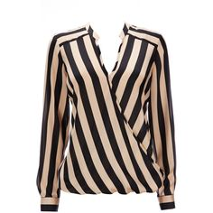 Black And Cream Stripe Blouse ($26) ❤ liked on Polyvore featuring tops, blouses, shirts, blusas, black, draped tops, drape shirt, long sleeve shirts, stripe top and cream blouse
