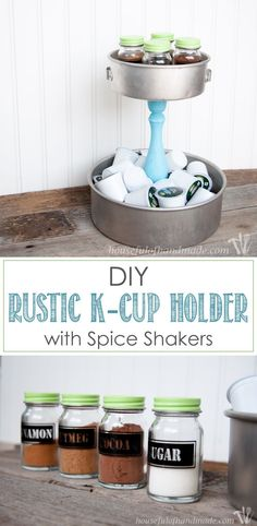I love having a place to hold all the K-cups and fun spices for our coffee station. This DIY Rustic K-cup Holder with Spice Shakers is the perfect way to display them on a counter and it is super easy to make. | Housefulofhandmade.com