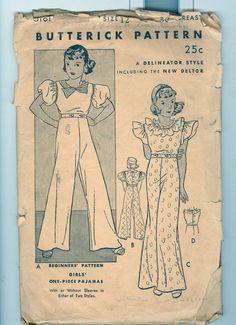 Vintage 1920s  Pattern Butterick 5181 Girl's One-piece Pajamas New Dealtor