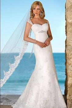 Fancy Trumpet Sheath Spaghetti Straps Appliques Summer Beach Wedding Dress