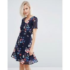 Yumi Floral Print Tea Dress ($38) ❤ liked on Polyvore featuring dresses, navy, navy blue floral dress, tall dresses, tie dress, navy blue dress and tea dress