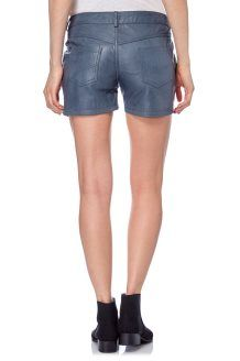Shorts in Pelle di Montone Jess<BR>Blu-Grigio