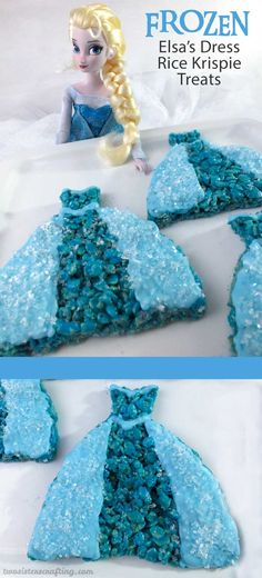 Our Elsa's Dress Rice Krispie Treats are a delicious and easy to make Frozen Dessert decorated to represent Queen Elsa's famous Ice Queen Dress. They are pefect for a Frozen Birthday Party and we have all the step by step directions you'll need to make these for your Frozen Party. Follow us for more fun Frozen Party Ideas.