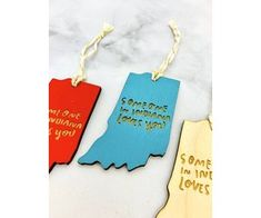 Someone In Indiana Loves You Ornament - Silver in the City Silver In The City, Signatures Handwriting, Indiana Love, Wooden Ornaments, Baltic Birch Plywood, Local Artists, Twine, Love You, Hand Painted