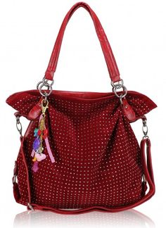 Delightfully squishy, with both carry and shoulder strap this red handbag with an all over crystal display and gorgeous colourful handbag charm.