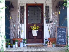 We love to decorate our front porch for the change of seasons.here is a glimpse of a year of front porches here at Cottage in the Oaks. Country Front Porches, Front Door Porch, Small Front Porches, Porch Doors, Front Porch Design, Front Door Decor, Front Doors, Screened Porches, Front Entry