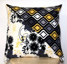 Patchwork Pillow Cover Gray Yellow Black White Floral by jayciMay, $16.00