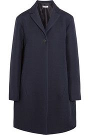 Satin-trimmed wool and silk-blend coat