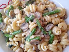 Dinner Ideas: Pasta with Chicken, Mushrooms and Asparagus Pasta With Chicken, Mushrooms And Asparagus Serves 4 For The Sauce 3/4 lb of boneless, skinless chicken breast (thighs could work, too) 1/2 lb of white button mushrooms 3/4 lb of asparagus 2 cloves of garlic 10-15 fresh basil leaves 1 cup of cream 1/2 cup of parmesan cheese plus extra for serving olive oil salt and pepper For The Pasta 1 lb pasta (your favorite shape will be fine) For Prep 1 Cube the chicken into medium sized cubes…