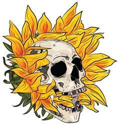 Skull Flower by Michelle J. Tatoo Crane, Tattoo Drawings, Art Drawings, Arte Dope, Totenkopf Tattoo, Skeleton Art, Arte Sketchbook, Flower Skull, Skull Art