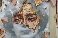 Creating a portrait with marble is surely the most fascinating thing I have been doing until now here at the mosaic school in Spilimbergo. Mosaic Flower Pots, Mosaic Pots, Pebble Mosaic, Mosaic Garden, Stone Mosaic, Mosaic Glass, Mosaic Tiles, Kunstjournal Inspiration, Art Journal Inspiration