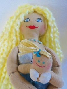 Mermaid Doll Holding Baby Mermaid  Cloth Doll by JoellesDolls, $40.00