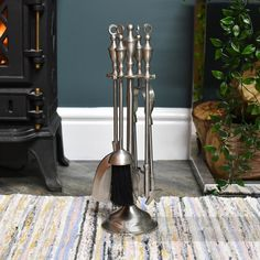 The Lady Clarice Fireside Companion Set - Companion Sets - Fireplace Tools and Accessories - Shop British Ironworks, Fireplace Bellows, Fire Basket, Cosy Night In, Recycle Cans, Fireplace Tools, Hearth, Contemporary, Modern